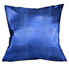 pd1025a Old-Metallic Blue Faux Crocodile Skin Glossy Cushion Cover/Pillow Case