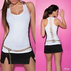 Sexy Tanktop with Side Lace and Shoulder Chain - S/M