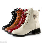 Womens Lace-up High Heel Shoes Synthetic Leather Platform Ankle Boots US Sz O422