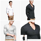 Fashion Mens Casual Tee Tops Cotton Slim Fit V-Neck Long Sleeves T-Shirts UKLO