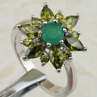 Size6 7 7.5 9 Hot Green Flower Emerald Gems Jewelry Gold Filled Woman Ring K1871