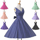 Housewife Vintage 50's Rockabilly A-Line Pleated V-Neck Swing Party Pinup Dress