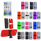 "Hybrid Hard Armor Dual Layer Case Cover Stand For Apple iPhone 6 4.7""+Protector"