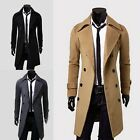 Men's Winter Warm Double Breasted Trench Coat Jacket Overcoat Black/Khaki/Grey