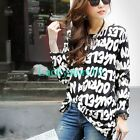 New Women Letters Crewneck Long Sleeve Casual Knitted Tops Loose Blouse L XL