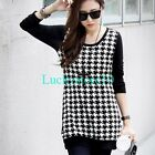 New Women Black White Crewneck Long Sleeve Casual Knitted Blouse Top L XL