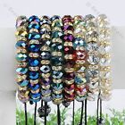 1pc Faceted Crystal Glass Golden Spacer Bead Macrame Woven Bracelet Girl Jewelry