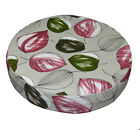 ai01r Light Green Wine Red Dark Green on Pale Grey Cotton 3D Round Cushion Cover