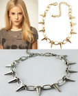 Gothic Punk Rivet Taper Stud Charms Circle Link Chain Necklace