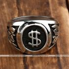 1pc Men's Stainless Steel US Dollar Logo Ring Punk Jewelry Fashion Style Punk