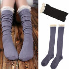 Chic Crochet Lace Trim Cotton Knit Footed Leg Warmers Boot Socks Knee Stockings