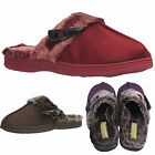 LADIES WOMENS LUXURY FAUX FUR LINING SLIPPERS WINTER MULES SHOES CLOG SIZE 3-8