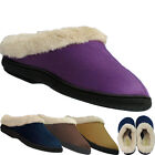 New Ladies Womens Coolers Shoes Fur Lined Slip on Mule slippers Flats UK  3-8