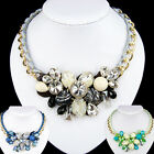 vintage antique jewellery gold gp lace glass crystal black flower bib necklace