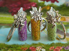 GLITTER CHARM FAIRY DUST BOTTLE CHARM GLASS GOLD GREEN LILAC FOR BAG OR KEYRING