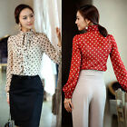 Womens Vintage Chiffon Business Tops Long Sleeve Blouse Polka Dot Ruffle Shirt