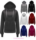 Womens Plain Hoodie Sweatshirt Fleece Hooded Jacket Plus Size 6-18 New