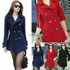 2014 new Women's Slim double-breasted  Lapel Warm Wool trench coat jacket 35DI