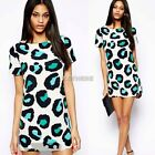 Korean Womens Girl Leopard Chiffon Short Sleeve Crewneck Slim Dress Tops Shirt
