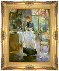 Framed Canvas Art Print In the Dining Room Berthe Morisot Painting Reproduction