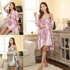 Hot Sexy Women Satin Lingerie Lady Sleepwear Nightwear Nightdress Robe Gown+Coat