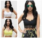 Women Ladies Eyelash Lace Floral Strappy V Neck Party Bralet Bra Crop Top 6-14CB