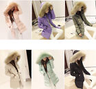 NEW Luxurious Winter Warm Thick Womens Lady Real fur Long Hood Coat Jacket Parka