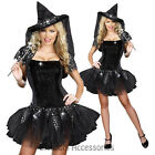 I13 Black Witch Womens Gothic Halloween Fancy Dress Costume Party Outfit + Hat