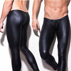 Sexy Fashion Men Black Faux Leather Fitted Trousers Johns Long Pant Skin Tights