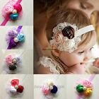 Girls Baby Vintage Lace Flower Hairband - Soft Elastic Headband Hair Accessories
