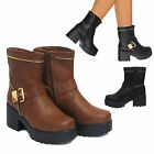 WOMENS LADIES BUCKLE HIGH PLATFORM BLOCK HEEL CHELSEA ANKLE BOOTS SHOES SIZE 3-8