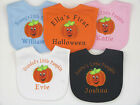 Personalised Name My First Halloween Pumpkin 1st Embroidered Baby Bib Costume