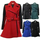 Ladies Wool Look Coat Womens PU PVC Jacket Flared Trench BELT Lined Winter New