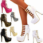 Ladies Gold Plated Straps Stiletto High Heels Hidden Platform Shoes Booties Size