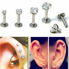 1x Round CZ Tragus Lip Monroe Ear Triple Cartilage Helix Stud Earring 2/3/4mm