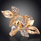 18K Gold Plated Women Clear Austrian Crystal Leaf-Shaped Ring Jewelry In 3 Size