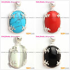 Beauty Carved Silver Pendant with White Red Blue Oval Beads+Free gift box/chain