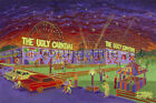 Ugly Carnival Print Ian Young Art Deco Roller Coaster Freak Show Tent Clown Car