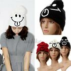 Winter Warm Women Gir Cutel Knitting Crochet Smile Hat Beret Ski Beanie Ball Cap