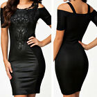 Hot Womens Sexy Leather Lace Bodycon Party Cocktail Club Evening Dress Casual