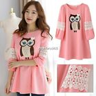 Sweet New Lace Hollow 3/4 Sleeve Cute Pink  Owl Pattern T-shirt Blouse Dress N4U