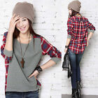 CHIC Women Ladies Plaid Checked Long Sleeve Casual Loose T shirt Tops Blouse NEW
