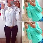 With Zipper At Sleeve Chiffon  Long Sleeve Blouses Women's Office Hotsell N4U8