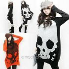 Fashion Women Casual Skull Printed Long Batwing Sleeve Loose T-shirt Tops Blouse