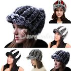 NEW Women's Real Rabbit Fur Knitted Visor Winter Skiing Snowboarding Outdoor Hat