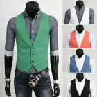 HOT Men's Casual Slim Fit Top Designed Skinny Dress 5 Color Waistcoat Vest