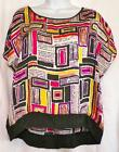 Ladies Silky Top Hot Pink Black Print Rafaella Size Petite & Medium Career NWT