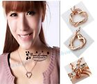 New 2 Heart Silver/Gold Plated  Crystal Pendant Necklace Charms Chain Necklace