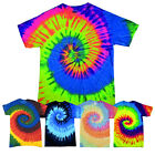PLAIN TIE DYE T-SHIRT UNISEX HIPPIE FESTIVAL SUMMER PARTY RETRO SPIRAL RAVE TOP