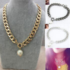CHIC NEW Women Metal Chain Pearl Necklace Fashion Bridal Pendant Collar Necklace